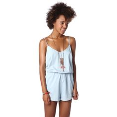 Chambray drawstring romper with elastic waist