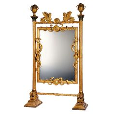 Exceptional Early 19th c. Empire Cheval Mirror, Russia or Sweden.