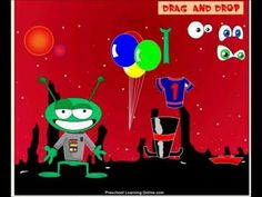 Drag and drop preschool game for kids. Dress the Alien drag and drop game.