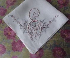 Monogram J Embroidered Handkerchief Vintage Pink Hankie Flowers Initial J Monogram Initial J Hankie Rose Handkerchief Cotton Handkerchief