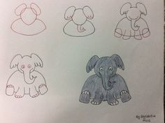Elefant Step by Step Sketch Painting, Diy Painting, Kindergarden Art, Doodle Paint, Kids Things To Do, Art Curriculum, Black And White Drawing, Step By Step Drawing, Drawing For Kids