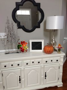 Our Entryway fall decor refinished buffet table gray and white