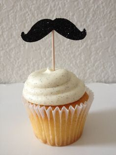 12 Black Glitter Mustache Cupcake Toppers/ Food Picks/ Toothpicks Cupcake Decorations Wedding Decorations Birthday Party