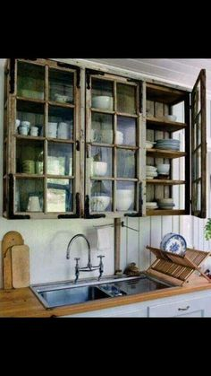 I want to use old windows as cabinet doors, some with backings so you can't see into the cupboard.