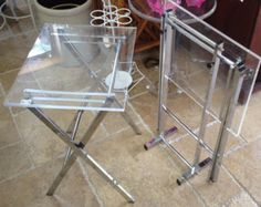 Vintage Modern Folding Lucite and Chrome Side Tables