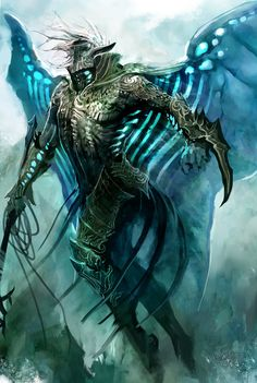 """Guild Wars 2 - Kekai Kotaki.                     Beautiful use of form and focus, with a particular interest in the glowing aspects around the body.  The """"false eye"""" quality around the head and neck are intriguing."""