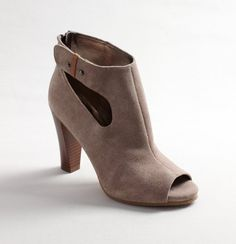 Suede booties with buckle detail at ankle. Great with jeans or a pencil skirt. $100