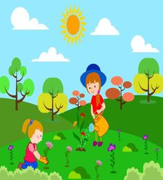 تصميم اطفال في المزرعة يسقون ويزرعون الورود