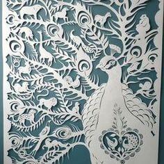 Peacock cut paper art