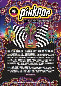 pinkpop 2017 James Tw, Kaiser Chiefs, Declan Mckenna, Sean Paul, Kings Of Leon, Festival Posters, Imagine Dragons, Green Day, Justin Bieber
