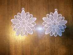 Two White lace machine embroidered by AbbysSpareTime on Etsy, $6.50