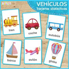 Beautiful transport flashcards to help teach little ones reading and writing skills or for vocabulary games! This free set includes six vehicles. Vocabulary Games For Kids, Vocabulary Cards, Vocabulary Strategies, Flashcards For Toddlers, Games For Toddlers, Transport Pictures, Shapes Flashcards, Babies First Words, Transportation Unit