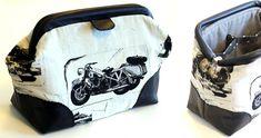kleine Carpet Bag als Kulturbeutel für einen Harleyfahrer :) - von Anita genäht im machwerk-Workshop in Weilerswist (Juni 2019) Carpet Bag, Patches, Juni, Suitcase, Workshop, Bags, Toiletry Bag, Travel Bags, Tutorials