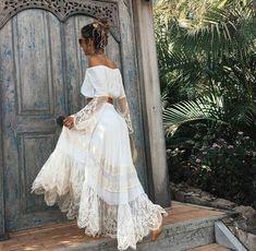 Gypsy. Bohemian. Long skirt, lace, white. Singoalla /off shoulder top