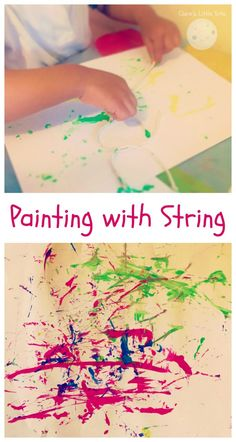 Painting with string fun painting idea for toddlers and preschoolers. Ditch the paint brushes and try a different painting technique that kids will love. Great idea for early mark making.