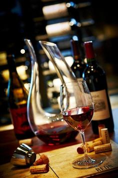 kissmehereplease:    hisprincessblueeyes:    ~ time for a glass of wine    Yes it is!!! And I love that decanter!  Very cool!
