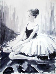 Ballerina 17- Original ballerina watercolor painting