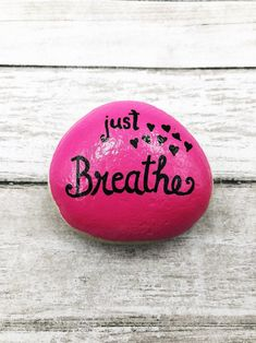 Rock Painting Ideas Discover Just Breathe Encouragement Rock Affirmation Stone Hand Painted Rock Christmas gift Teacher gift stocking stuffer Rock Painting Patterns, Rock Painting Ideas Easy, Rock Painting Designs, Pebble Painting, Pebble Art, Stone Painting, Painted Rocks Craft, Hand Painted Rocks, Painted Pebbles