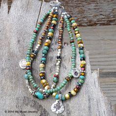 Summer Bracelet, Seed Bead Bracelet, Beaded Bracelet, Boho Bracelet, Turquoise…