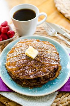 2 cups all purpose flour ¼ cup granulated sugar 1 tsp baking soda ½ tsp salt 2 eggs 2 cups buttermilk 1½ cups brewed black coffee, cooled (I like Lavazza's Perfetto blend) 3 tbsp unsalted butter, melted 5 tsp canola oil