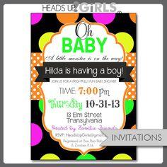 143 best halloween baby shower invitations images on pinterest set of 12 personalized halloween neon colors oh baby shower invitations in orange black filmwisefo