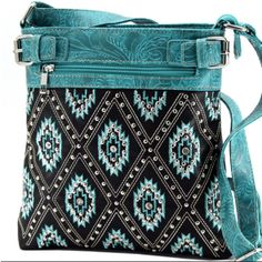 Blue Diamond Pattern Rhinestone Messenger Bag Purse