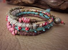 Blush of Dawn . Bangle Stack Bracelets . Beaded Wire Fabric Silk Wrapped . Gypsy Assemblage .  Pink Green Antique Brass