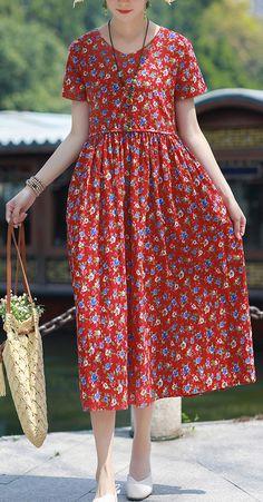 Bohemian v neck pockets linen outfit red print Dresses summer – Linen Dresses For Women Summer Dress Outfits, Casual Summer Dresses, Summer Dresses For Women, Simple Dresses, Spring Dresses, Casual Outfits, Dress Summer, Dress Casual, Linen Dresses