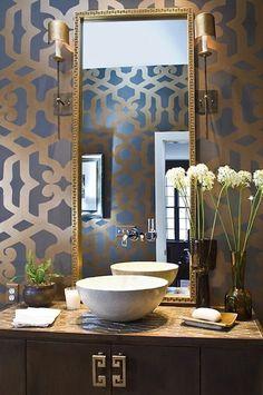 Elegant wallpaper for the powder room - from Lill-Bente Strand