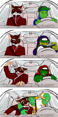 Lol don't worry master splinter. I would be freaking out too if Raph was driving like that