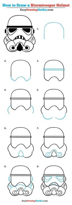 Learn to draw a stormtrooper helmet. This step-by-step tutorial makes it easy. Kids and beginners alike can now draw a great looking stormtrooper helmet. to drawing step by step How to Draw a Stormtrooper Helmet – Really Easy Drawing Tutorial Easy Drawing Tutorial, Easy Drawing Steps, Star Wars Drawings, Doodle Drawings, Easy Drawings, Step By Step Sketches, Step By Step Drawing, Easy Sketches, Stormtrooper Helm