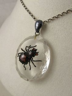 Victorian rock crystal pendant with amethyst beetle vintage rare antique victorian rock crystal garnet silver spider pendant mozeypictures Image collections
