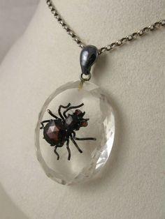 Victorian rock crystal pendant with amethyst beetle vintage rare antique victorian rock crystal garnet silver spider pendant aloadofball Images
