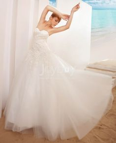 Fresh Appliques Sweep Train Ball Gown Wedding Dress Designer