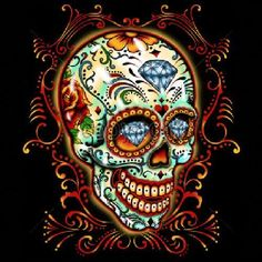 Day of the Dead Sugar Skull with Pinstripes and Diamonds WOMANS TANK TOP T Shirt 16552