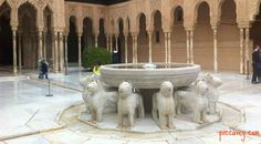 The Courtyard of the Lions Alhambra palace Granada Spain  Read the secrets behind this here: http://www.piccavey.com/secrets-alhambra-palace-water/