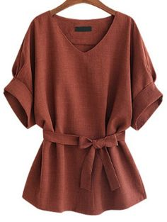 Burgundy V Neck Self Tie Blouse Mobile Site