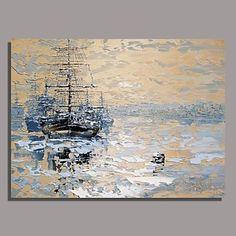 Pintados à mão Impression Pintura de paisagem a óleo com moldura esticada pronto para pendurar – BRL R$ 209,76