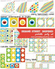 Sesame Street Inspired Printable Party Set  ALL FREE!!!!!