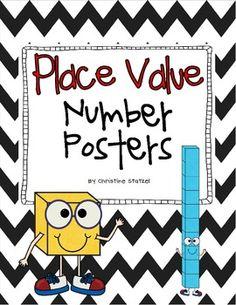 Place Value Number Posters - Christine Statzel - TeachersPayTeachers.com