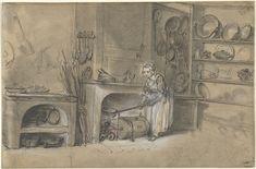 Kitchen-sene with a Girl frying Pancakes, Louis Aubert, 1740 - 1780 Rijksmuseum Georgian Era, Pancake Day, 18th Century, Pancakes, Fine Art Prints, Drawing, Canvas, Poster, Painting