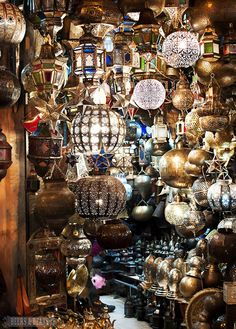 Looking for a new lamp? This stall in Marrakech is full of them! -- Marrakech, I would love to see this city! Style Marocain, Moroccan Style, Moroccan Colors, Moroccan Decor, Photo Essay, After Dark, The Places Youll Go, Light Up, Lamp Light