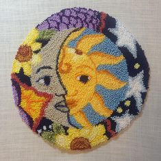 This is a download computer file - 4 Pages SUN MOON PUNCH NEEDLE PATTERN You can view a video tour of this pattern by clicking the link below: https://youtu.be/kcVmgHn4vEc You will need to transfer the design to weavers cloth using a light source such as a light box, tracing