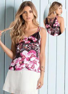 Blusa de Cetim Floral Maxi - Posthaus
