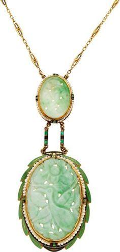 Art Deco Jade, Pearl, Enamel, Gold Necklace