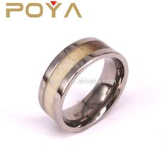 POYA Jewelry 8mm Titanium Ring Polished Finish Deer Antler Inlay Mens Wedding Band