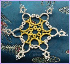 Parfait Snowflake from the Craftsy Shuttle Tatting course Square Patterns, Lace Patterns, Vintage Patterns, Needle Tatting, Tatting Lace, New Crafts, Paper Crafts, Tatting Patterns Free, Crochet Classes