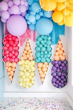 Balloon Photobooth backdrop for a Summer Ice Cream Party by Bonjour Fete in Studio City, California selber machen ice cream cream cream cake cream design cream desserts cream recipes Balloon Backdrop, Balloon Decorations, Birthday Decorations, Birthday Party Themes, Backdrop Photobooth, Balloon Columns, Carnival Birthday, Card Birthday, Birthday Quotes