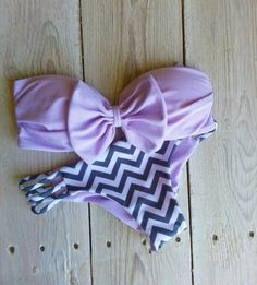 swimwear, bikini, bow, chevron stripes, summer, beach, bandeau, sexy, cute