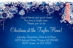 Christmas Party Invitations Snowflakes - Get these cards RIGHT NOW. Design yourself online, download and print IMMEDIATELY! Or choose my printing services. No software download is required. Free to try!